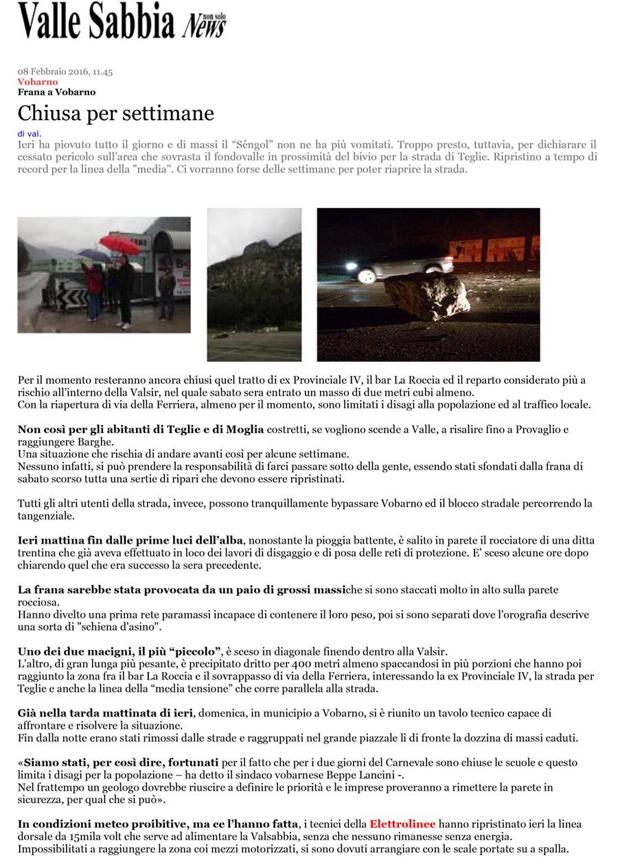 Valle Sabbia News 8 Febbraio 2016